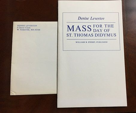 Mass for the Day of St. Thomas Didymus. Denise Levertov.
