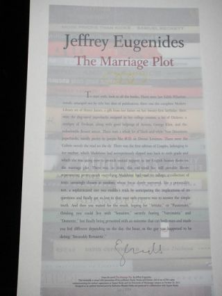 The Marriage plot. Jeffrey Eugenides.
